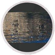 Tin Fishing Shack Reflection Round Beach Towel