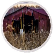 Tin Roof Rusted Round Beach Towel by Bill Cannon