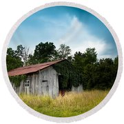 Tin Roof...ivy Covered Barn Round Beach Towel