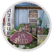 Tin Shed Apalachicola Florida Round Beach Towel