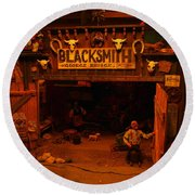 Tinkertown Blacksmith Shop Round Beach Towel by Jeff Swan