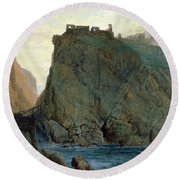 Tintagel On The Cornish Coast Round Beach Towel