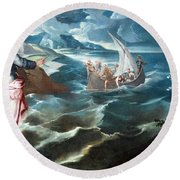 Tintoretto's Christ At The Sea Of Galilee Round Beach Towel