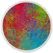 Tiny Blocks Digital Abstract - Bold Colors Round Beach Towel