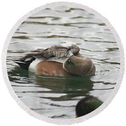 Tiny Duck Cleaning 1 Round Beach Towel