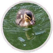 Tiny Duckling Round Beach Towel