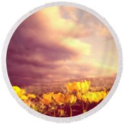 Tiny Flowers Round Beach Towel by Bob Orsillo