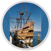 Tiny Mayflower At Plymouth Rock Round Beach Towel