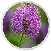 Tiny Purple Wildflower II Round Beach Towel