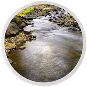 Tiny Rapids At The Bend  Round Beach Towel