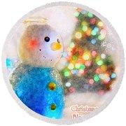Tiny Snowman Christmas Card Round Beach Towel