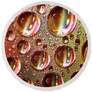 Tiny Water Beads And Spectrum Colors Round Beach Towel