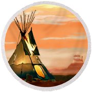 Tipi Or Tepee Monument Valley Round Beach Towel