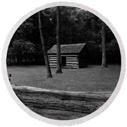 Tipton Place In Cades Cove Round Beach Towel