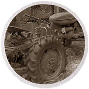 Tired Tractor...... Sepia Round Beach Towel