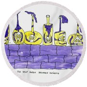 Tis Six Drunken Knights Round Beach Towel