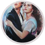 Titanic Jack And Rose Round Beach Towel