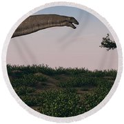 Titanosaurus Standing Grazing In Swamp Round Beach Towel