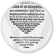 Title Page Wine Book, 1568 Round Beach Towel