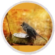 Titmouse In The Rain Round Beach Towel