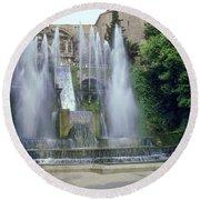 Tivoli Garden Fountain Round Beach Towel