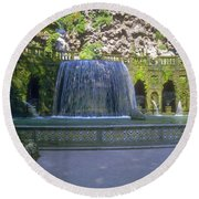 Tivoli Gardens Fountain And Pool Round Beach Towel