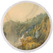 Tivoli With The Temple Of The Sybil And The Cascades Round Beach Towel