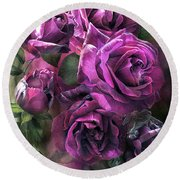 To Be Loved - Purple Rose Round Beach Towel