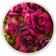 To Be Loved - Red Rose Round Beach Towel