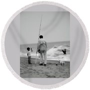To Fish Or Surf That Is The Question Round Beach Towel