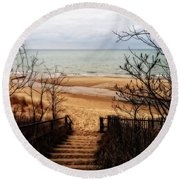 To The Beach Round Beach Towel