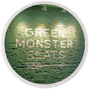 To The Green Monster Seats Round Beach Towel by Barbara McDevitt