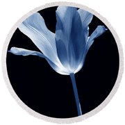 To The Light Tulip Flower In Blue Round Beach Towel