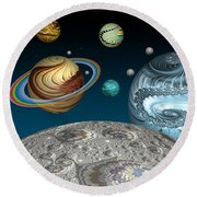 To The Moon And Beyond Round Beach Towel