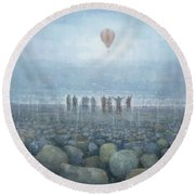 To The Mountains Of The Moon Round Beach Towel