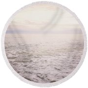 To The Ocean White With Foam Round Beach Towel