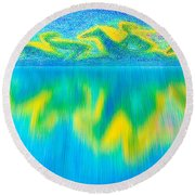 To West  Horses With Reflection Round Beach Towel