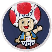 Toad From Mario Brothers Nintendo Original Vintage Recycled License Plate Art Portrait Round Beach Towel