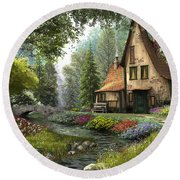 Toadstool Cottage Round Beach Towel