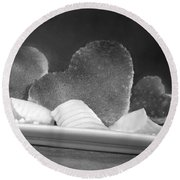 Toast Hearts With Butter Black And White Round Beach Towel
