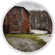 Tobacco Barn Round Beach Towel