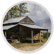 Tobacco Barn In North Carolina Round Beach Towel