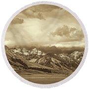 Tobacco Root Mountain Range Montana Sepia Round Beach Towel by Jennie Marie Schell