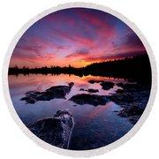 Tobermory Sunset 2 Round Beach Towel