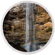 Toccoa Falls With Rainbow Round Beach Towel