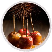Toffee Apples Group Round Beach Towel by Amanda Elwell