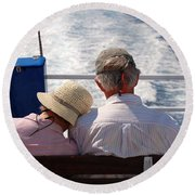 Together In Greece Round Beach Towel