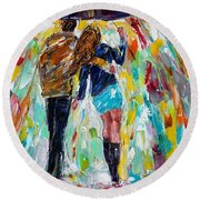 Together In The Rain  Round Beach Towel