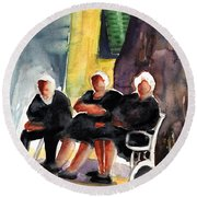 Together Old  In Italy 06 Round Beach Towel