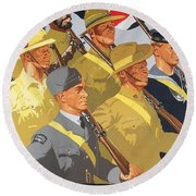 Together Propaganda Poster Round Beach Towel by Anonymous